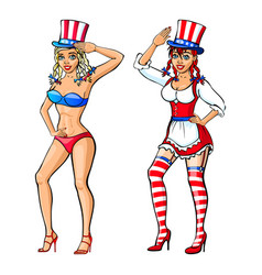 Pretty girl wearing red white and blue bikini vector