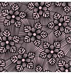 Seamless flower pattern made of straight lines vector