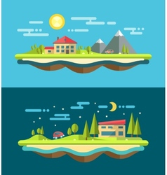 Modern flat design conceptual landscape with vector