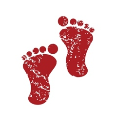 Red grunge foot steps logo vector