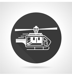 Helicopter black round icon vector