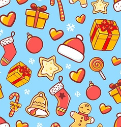 Seamless christmas pattern on blue background vector