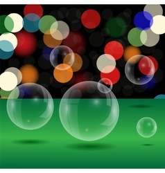 Soap Bubbles on Blurred Lights Background vector image