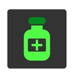 Medicine container flat button vector