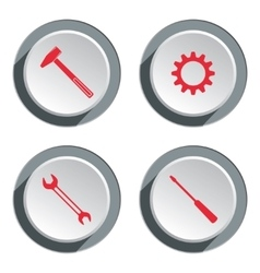 Screwdriver cogwheel hammer wrench key icon vector