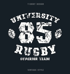 University rugby team emblem vector