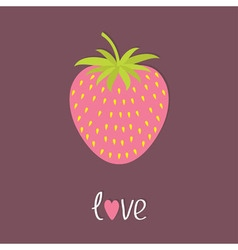 Strawberry icon isolated violet background flat vector