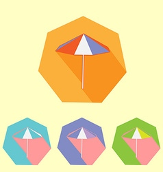 Colorful flat umbrella icon set vector