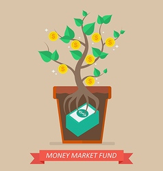 Passive income from money market fund vector