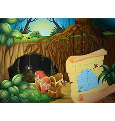 A cave a treasure chest and a map vector image
