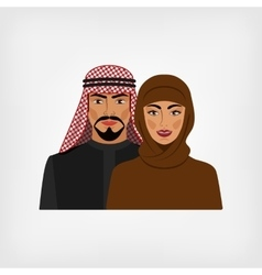 Arab man and woman in traditional clothes vector image vector image