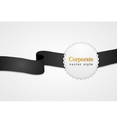 Black and white ribbon and circle label vector