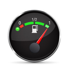 Black fuel gauge with chrome frame full tank vector