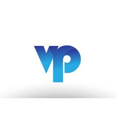 Blue gradient vp v p alphabet letter logo vector