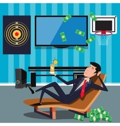 Businessman relaxing at the office cartoon vector