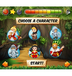 Computer game template with fairytales characters vector