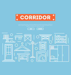 Corridor furniture poster in linear style vector