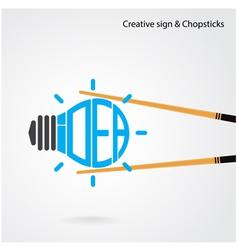 Creative light bulb concept and chopsticks symbol vector image