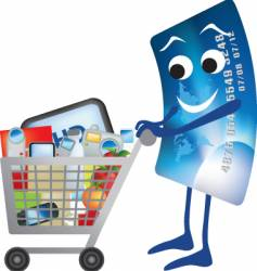 credit card shopping trolley vector image vector image