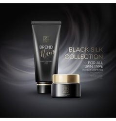 Design cosmetics product advertising on black vector