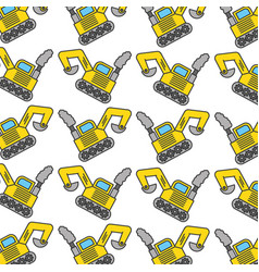 excavator construction vehicle pattern background vector image vector image