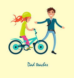 family bike ride with dad and daughter on bicycle vector image vector image