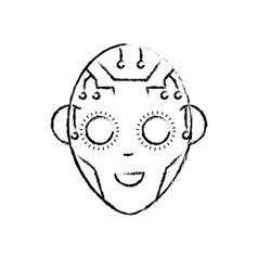 Figure head in interface and cyberspace system vector