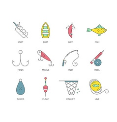 Fishing equipment vector