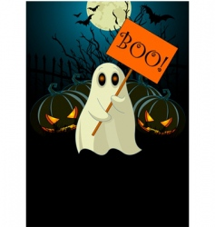 Ghost with sign halloween invitation vector