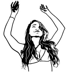 Girl with Hands Up vector image vector image