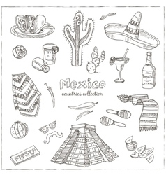 Hand drawn doodle mexico symbols set vector