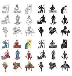 Icons builder and secretary vector