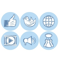 Icons for social networking internet twitter like vector