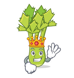 King celery mascot cartoon style vector
