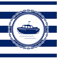 marine emblem with a lifeboat vector image vector image