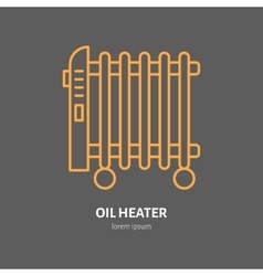 Oil heater line icon electric radiator vector image