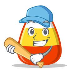 Playing baseball candy corn character cartoon vector