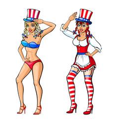 pretty girl wearing red white and blue bikini vector image