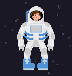 Sad astronaut in outer space sorrowful pessimistic vector