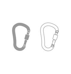 Safety hook or carabiner hook icon grey set vector