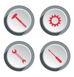 Screwdriver cogwheel hammer wrench key icon vector