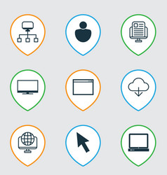 Set of 9 internet icons includes blog page vector