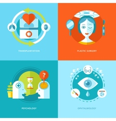 Set of flat design concepts for medical icons vector image vector image