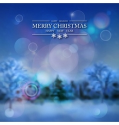 Snowy forest winter background vector