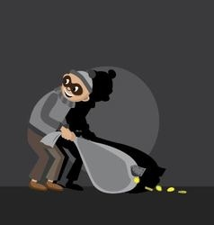 Thief carries a bag vector