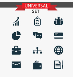 trade icons set collection of suitcase pie bar vector image