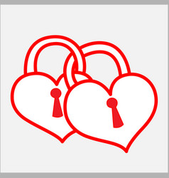 Two bonded heart padlock vector