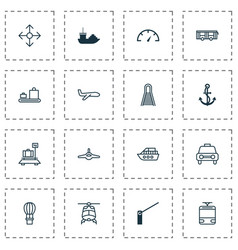 vehicle icons set includes icons such as vehicle vector image