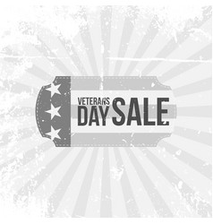 Vintage label with veterans day sale text vector