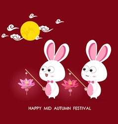 Moon and rabbits holding lotus lanterns of mid vector